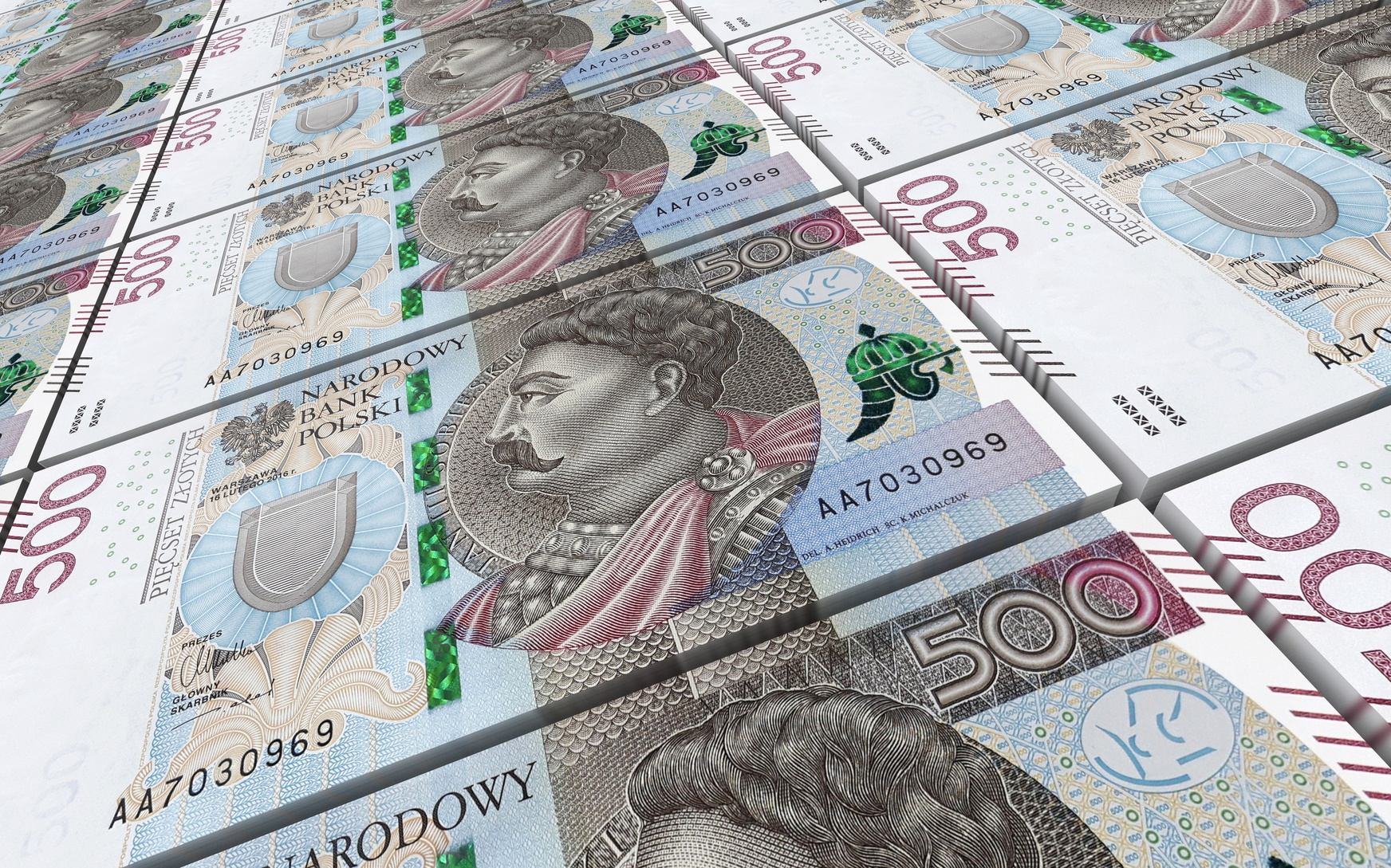 Polish zloty bills stacked background. 3D illustration.